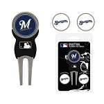 Milwaukee Brewers Divot Tool Set of 3 Markers Golf Gift