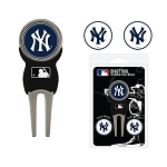New York Yankees Divot Tool Set of 3 Markers Golf Gift