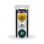 Oakland Athletics 3 Ball Clamshell Golf Gift