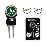 Oakland Athletics Divot Tool Set of 3 Markers Golf Gift