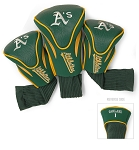 Oakland Athletics MLB Set Of 3 Contour Head Covers Golf Gift