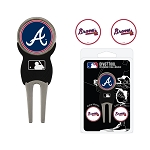 Atlanta Braves Divot Tool Set of 3 Markers Golf Gift