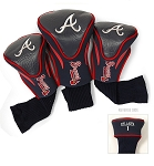 Atlanta Braves MLB Set Of 3 Contour Head Covers Golf Gift