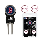 Boston Red Sox Divot Tool Set of 3 Markers Golf Gift