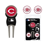 Cincinnati Reds Divot Tool Set of 3 Markers Golf Gift