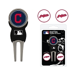 Cleveland Indians Divot Tool Set of 3 Markers Golf Gift