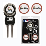 Miami Marlins Divot Tool Set of 3 Markers Golf Gift
