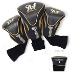 Milwaukee Brewers MLB Set Of 3 Contour Head Covers Golf Gift