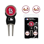 St. Louis Cardinals Divot Tool Set of 3 Markers Golf Gift