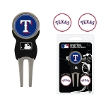 Texas Rangers Divot Tool Set of 3 Markers Golf Gift