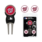 Washington Nationals Divot Tool Set of 3 Markers Golf Gift