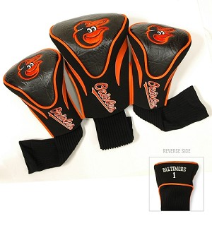 Baltimore Orioles MLB Set Of 3 Contour Head Covers Golf Gift