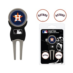 Houston Astros Divot Tool Set of 3 Markers Golf Gift